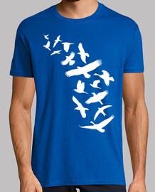 birds flying - white