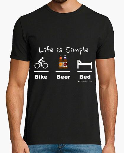 T-shirt birra moto letto bianco