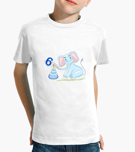 Birthday 6 Years Old Elephant Blue Kids Clothes