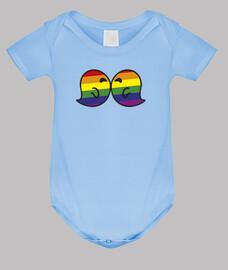 bisou gais corps de bébé, bleu clair