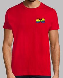 bisou gais homme, style rétro, rouge et blanc