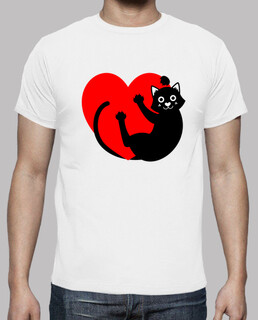 BLACK CAT HANGING FROM THE HEART