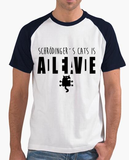 Black cat schrödinger t-shirt