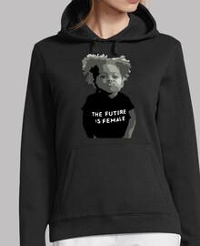 Black girl Mujer, jersey con capucha, negro