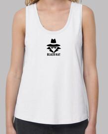 Black Hat. camiseta blanca chica.