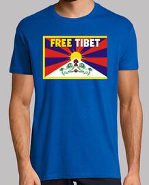 bleu manches courtes unisexe - free tibet