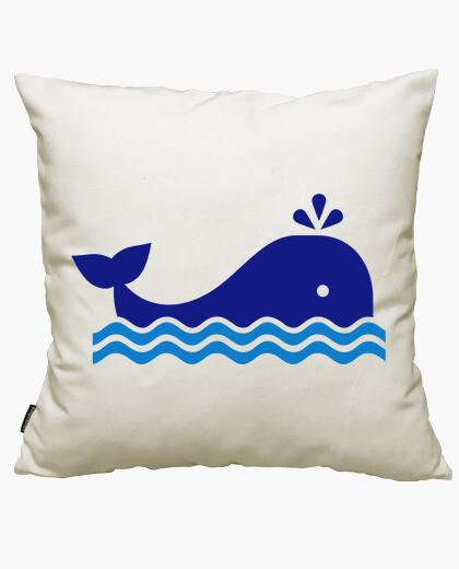 Fodera cuscino blu fumetti balena