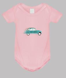 body 2cv citroen verde // bebé / rosa