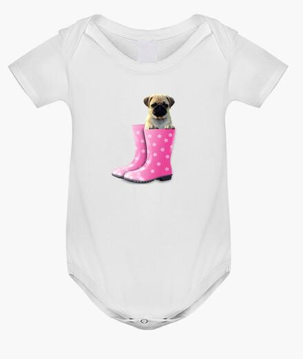 Ropa infantil Body bebé,  carlino y botas de agua rosa
