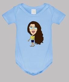 Body bebé, azul cielo con muñequita independiente