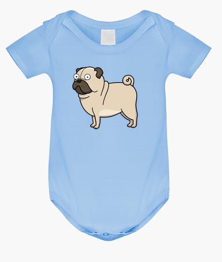 Ropa infantil Body bebé, azul cielo Pug carlino dibujo