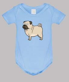Body bebé, azul cielo Pug carlino dibujo