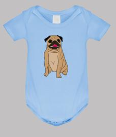 Body bebe diseño Dibujo perro pug carlino