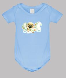 Body bebé diseño Perro pug carlino con hueso