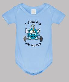 Body bébé Licorne Bleu, J' Peux pas, J'ai Muscu