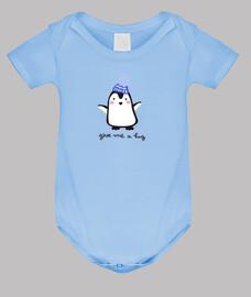body bébé pingouin, bleu clair