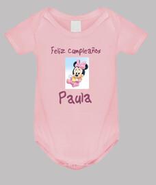 Body bebé, rosa personalizado cumpleaños