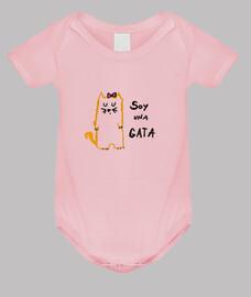 Body bebé rosa Soy un gato