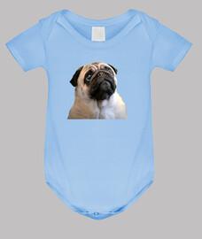 Body de bebe con diseño de Carita de  Perro Pug Carlino