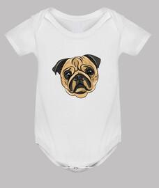 Body de bebe diseño Cara Perro Pug Carlino