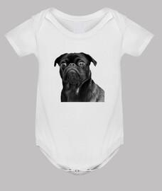 Body para bebe con diseñño de Perro Pug Carlino negro