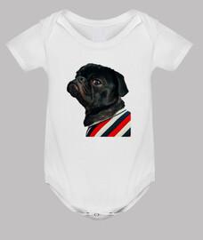 Body para bebe con diseño de  Perro Pug Carlino con camisa de rallas