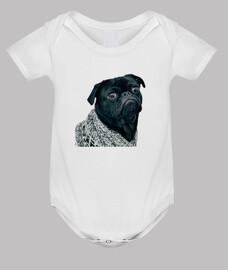 Body para bebe con diseño de  Perro Pug Carlino con jersey
