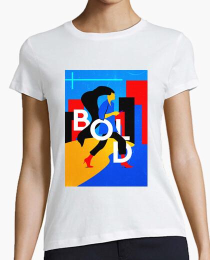 Camiseta BOLD - Mujer, manga corta, blanca, calidad premium