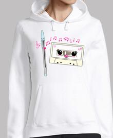 Bolígrafo y casete enamorados kawaii