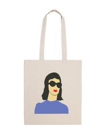 Bolsa chica con gafas vector