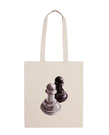 bolsa de peones de ajedrez en blanco y negro