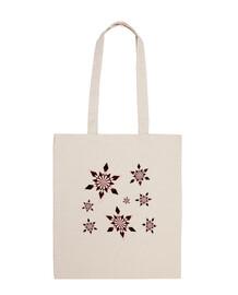 bolsa de playa - copos de nieve - marrón