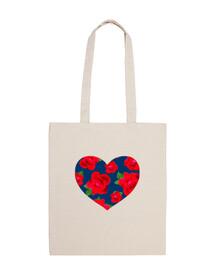 bolsa de playa corazón de rosas