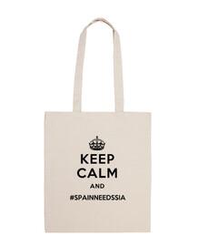 Bolsa de ropa blanca Keep Calm and #SpainNeedsSia