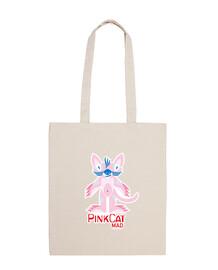 Bolsa de tela, color natural pink cat madrid