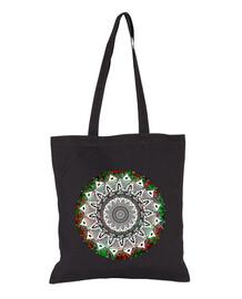 Bolsa de tela, color negro - bonito mandala de colores