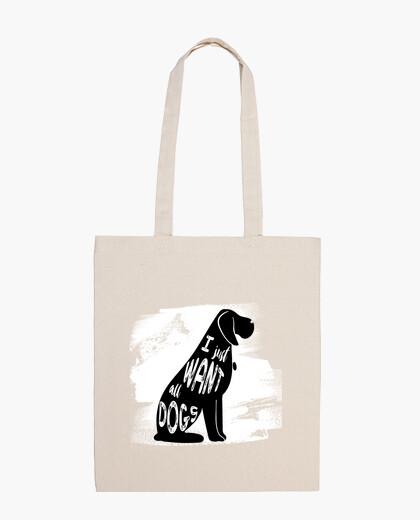 Bolsa de Tela de Algodón con Perro |  I just want all dogs
