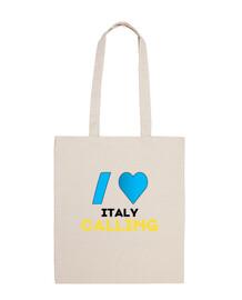 Bolsa de tela I love Italy Calling
