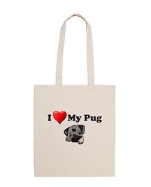 Bolsa de tela I love my pug