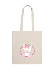 Bolsa de tela unicornio rosa