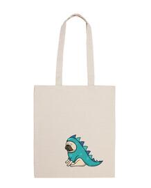 Bolsa tela 100 algodón Pug  carlino dinosaurio