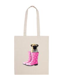 Bolsa tela carlino y botas de agua rosa