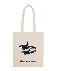 Bolsa tela Macho y hembra orcas (Orcinus orca)