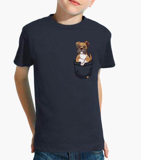 Ropa infantil bolsillo boxeador lindo cachorro - camisa de niños