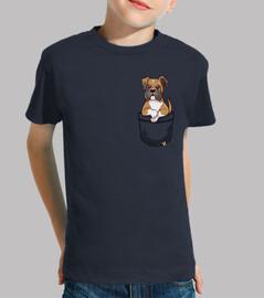 bolsillo boxeador lindo cachorro - camisa de niños