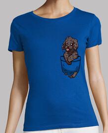 bolsillo cachorro cockapoo - camisa de mujer