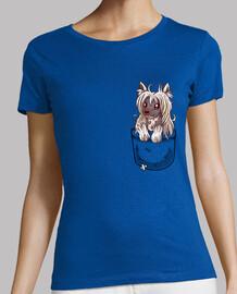 bolsillo cachorro crestado chino - camisa de mujer