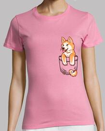 bolsillo cachorro de akita lindo - camisa de mujer