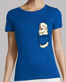 bolsillo cachorro pyrenees lindo - camisa de mujer