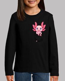 bolsillo lindo axolotl salamandra - camisa de niños